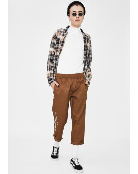 Brown Logo Cropped Chino Pants