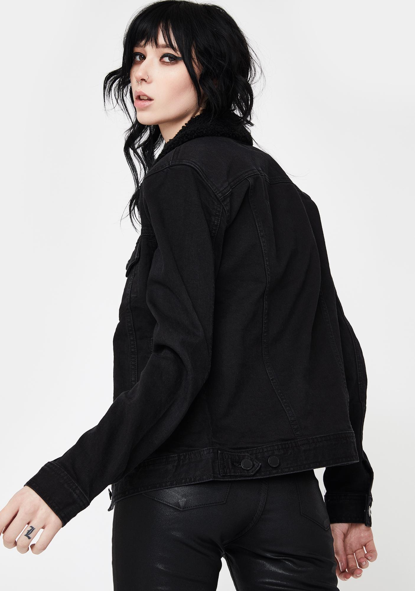 Articles of Society Black Liz Sherpa Denim Jacket