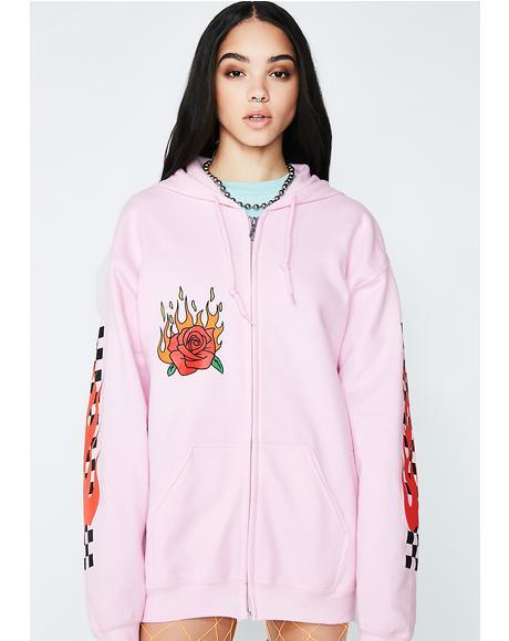 Flaming Rose Hoodie