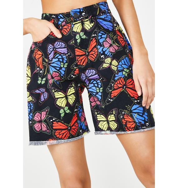 Jaded London Black Butterfly Print Denim Shorts