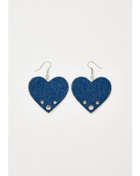 Caught The Blues Heart Earrings