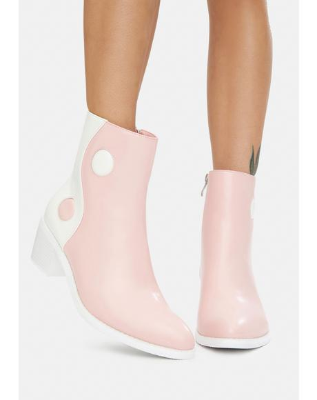 Pink Balancing Act Vegan Leather Boots