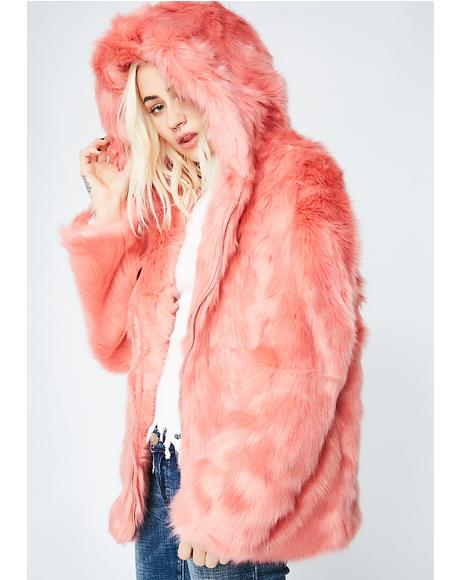 Peach Fuzz Fur Zip Jacket
