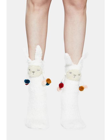 Llama Embellished Critter Plush Socks