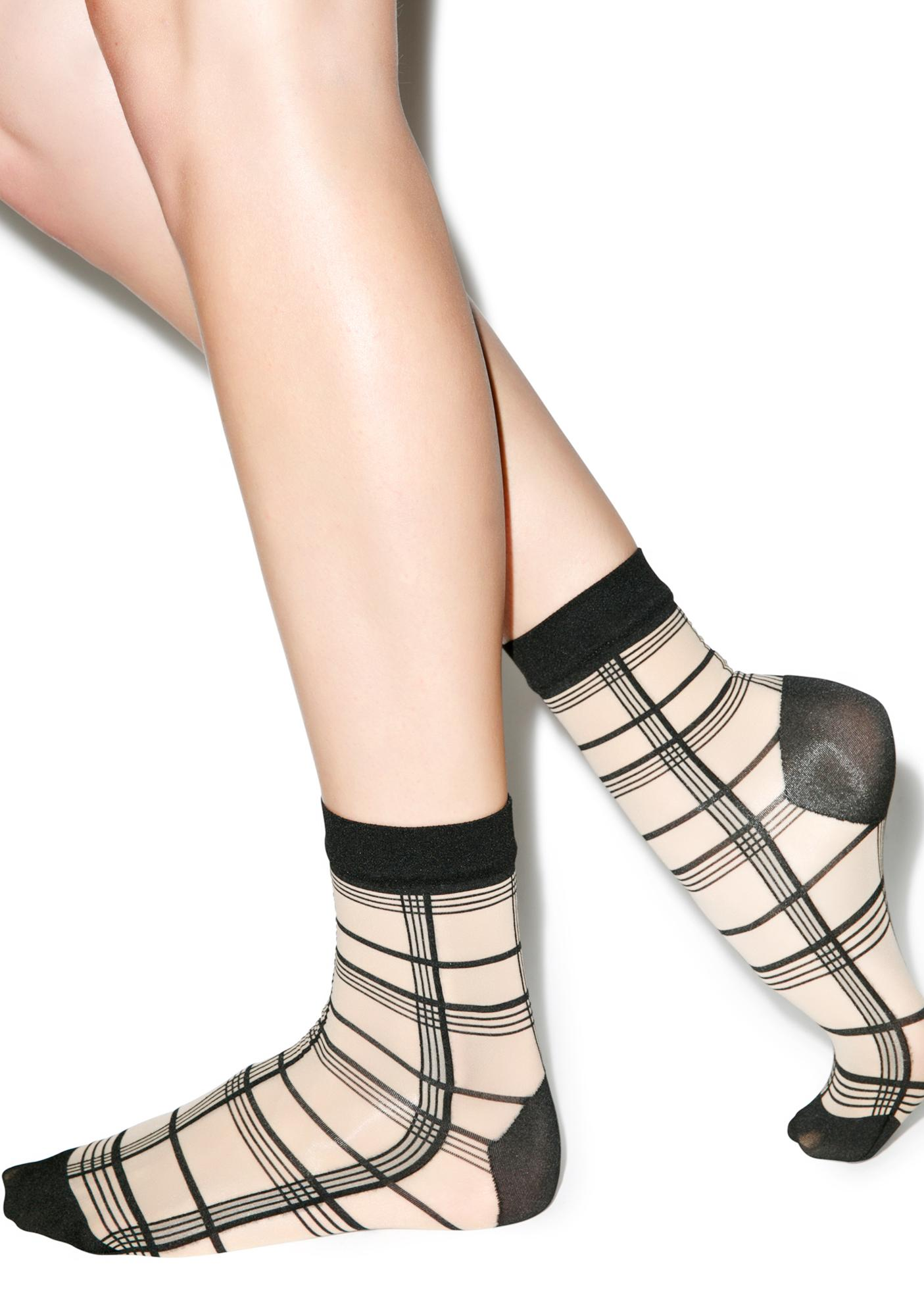 Pretty Polly Grid Stripe Ankle Highs