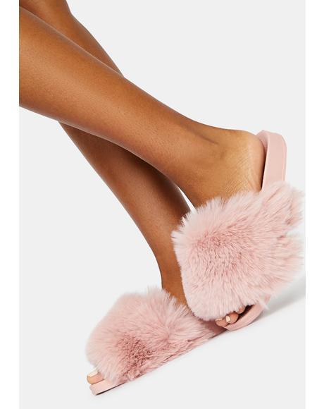 Blush Fuzz Club Fluffy Slides