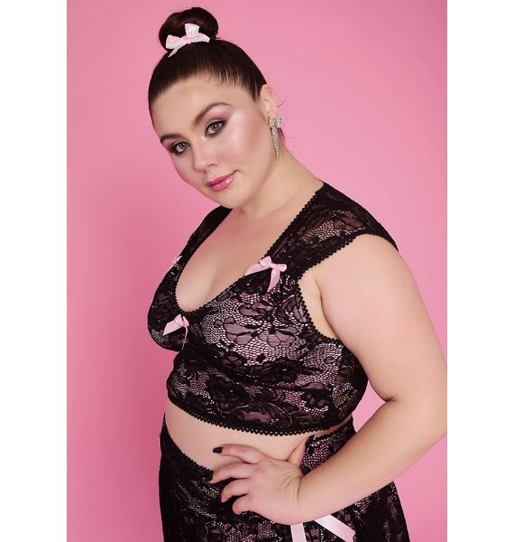 Sugar Thrillz Glam Grace In Lace Satin Bow Crop Top