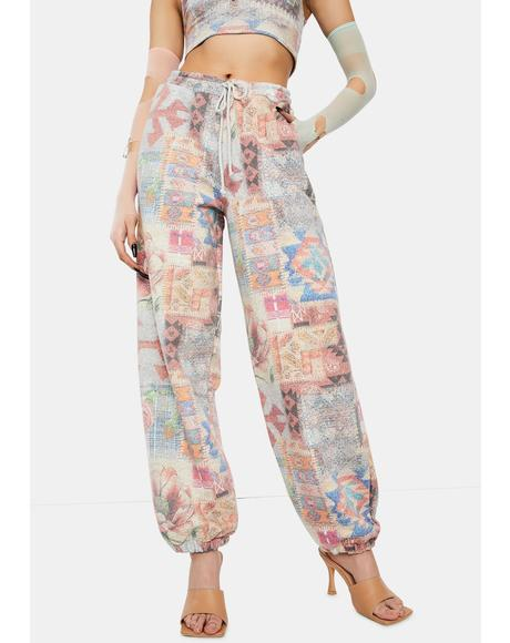 Tapestry Print High Waist Joggers