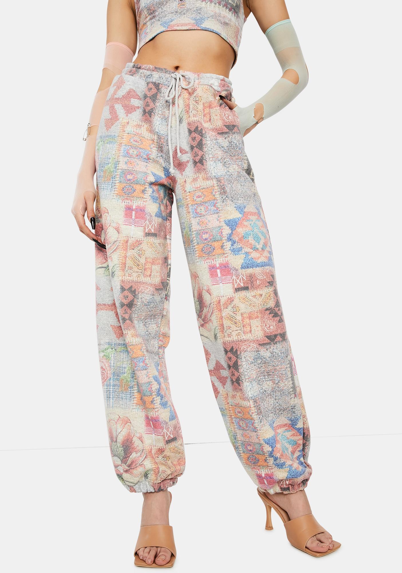 Jaded London Tapestry Print High Waist Joggers