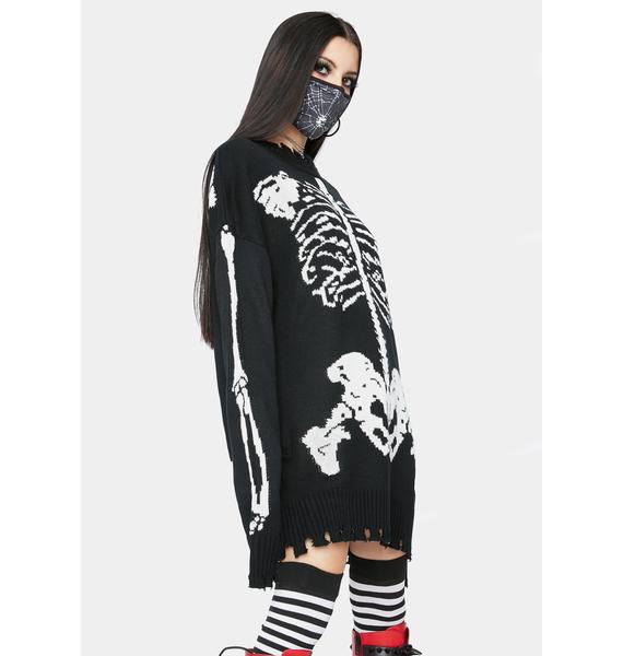 Dolls Kill Fractured Fate Skeleton Sweater