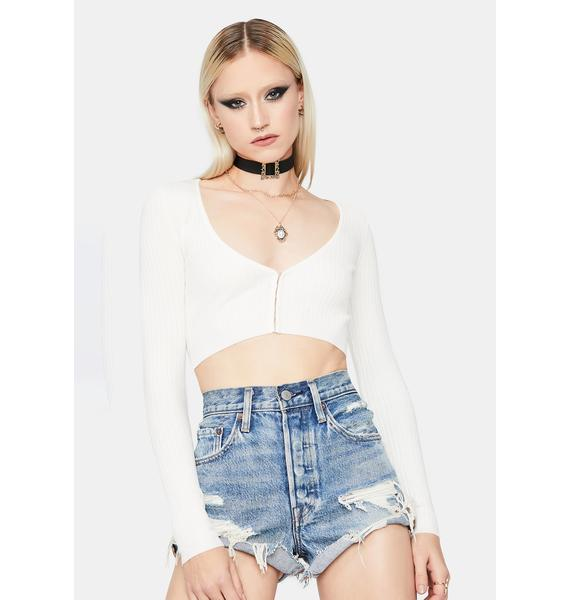 Ivory No Exceptions Ribbed Knit Crop Top
