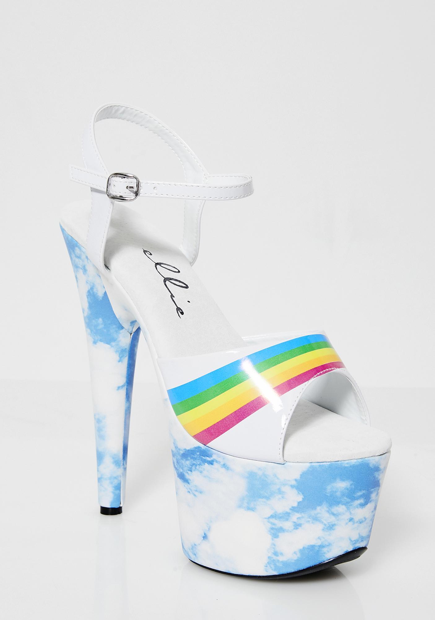 Sky High Rainbow Platform Heels