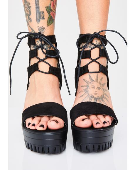 Cruel Summer Lace-Up Platform Heels