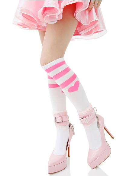 Heart Striped Knee Socks