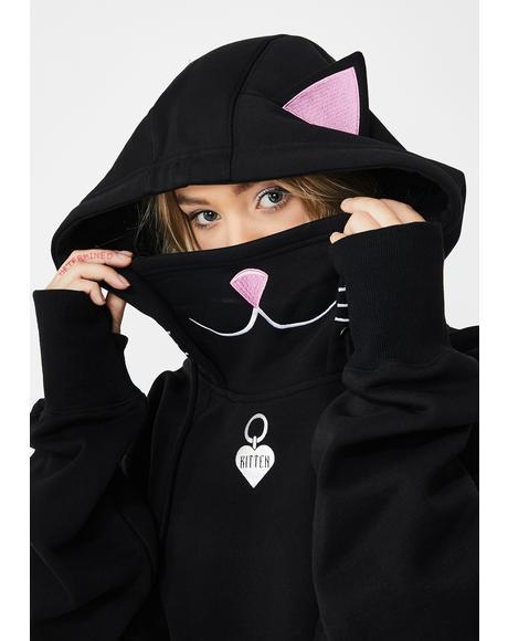 Playful Kitten Crop Hoodie