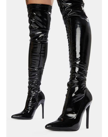 Black Confidence Patent Stiletto Boots