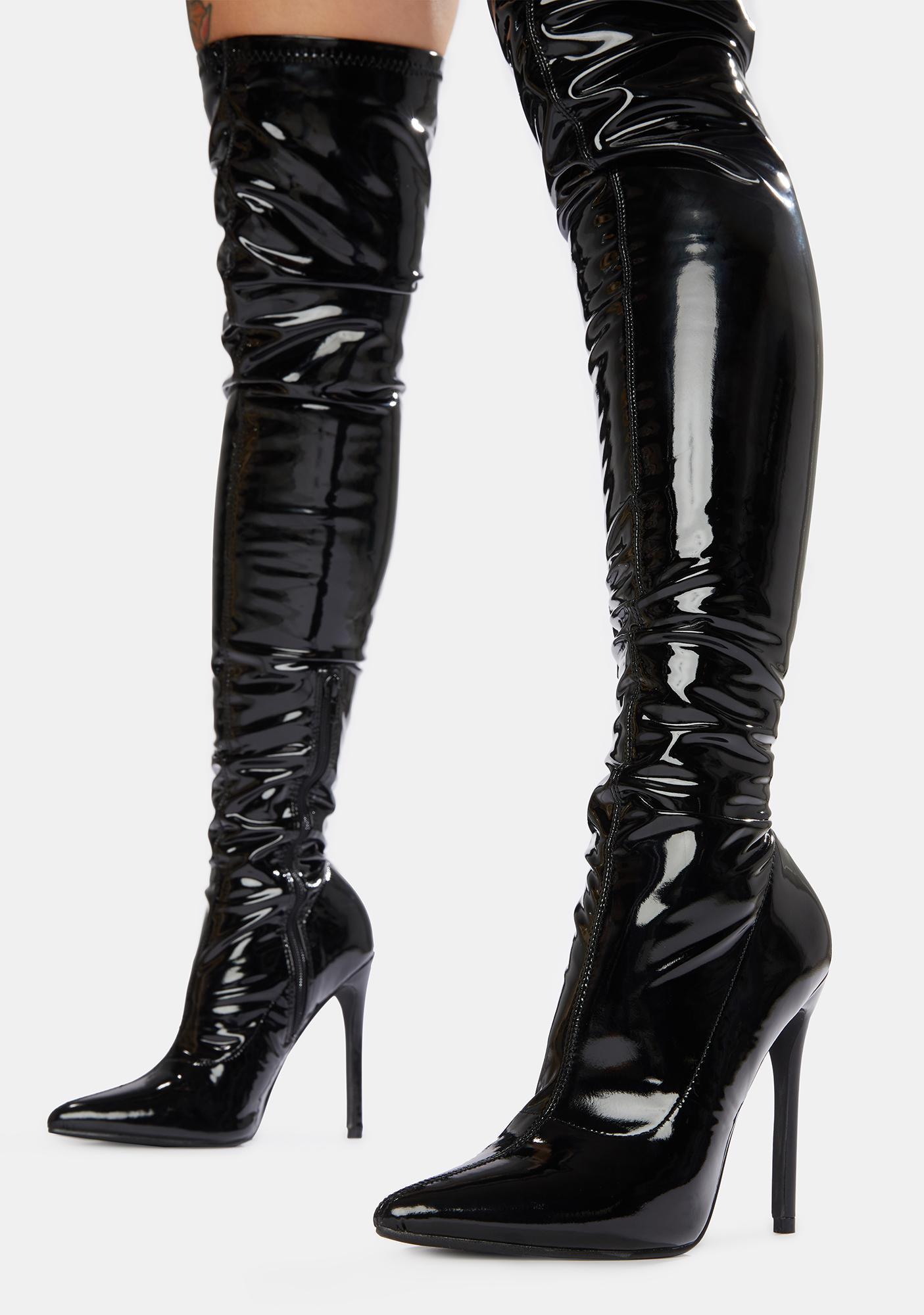 Public Desire Black Confidence Patent Stiletto Boots
