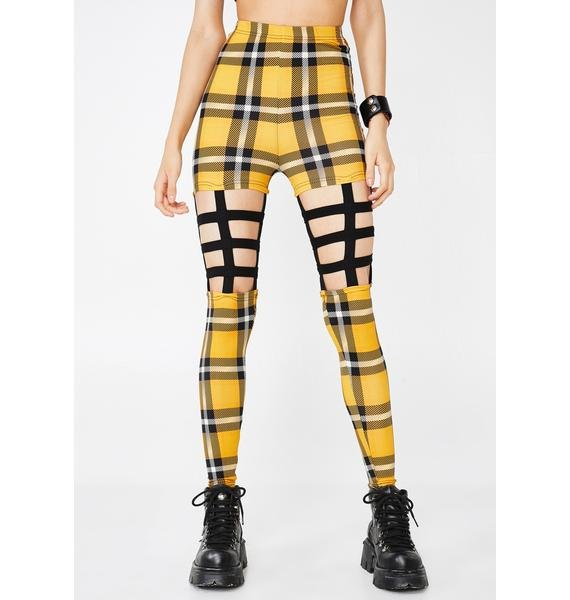 Jawbreaker Most Disruptive Plaid Cage Leggings