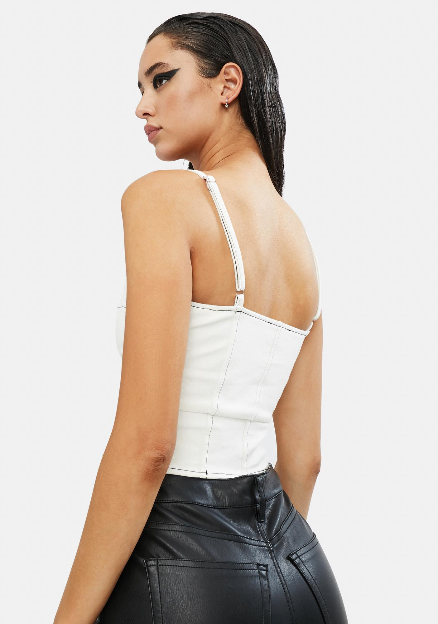 It Goes Down Lace Up Corset Top