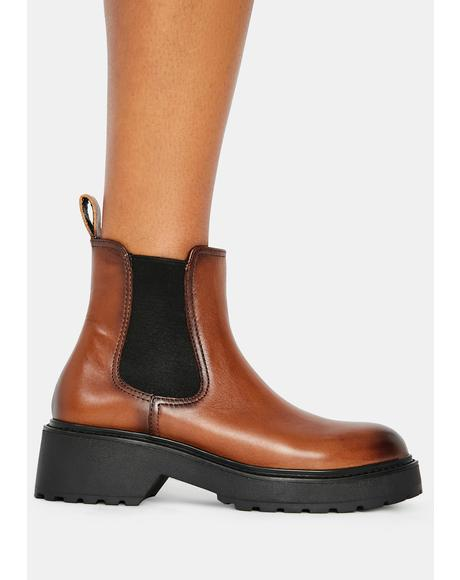 Cognac Trap Leather Chelsea Boots