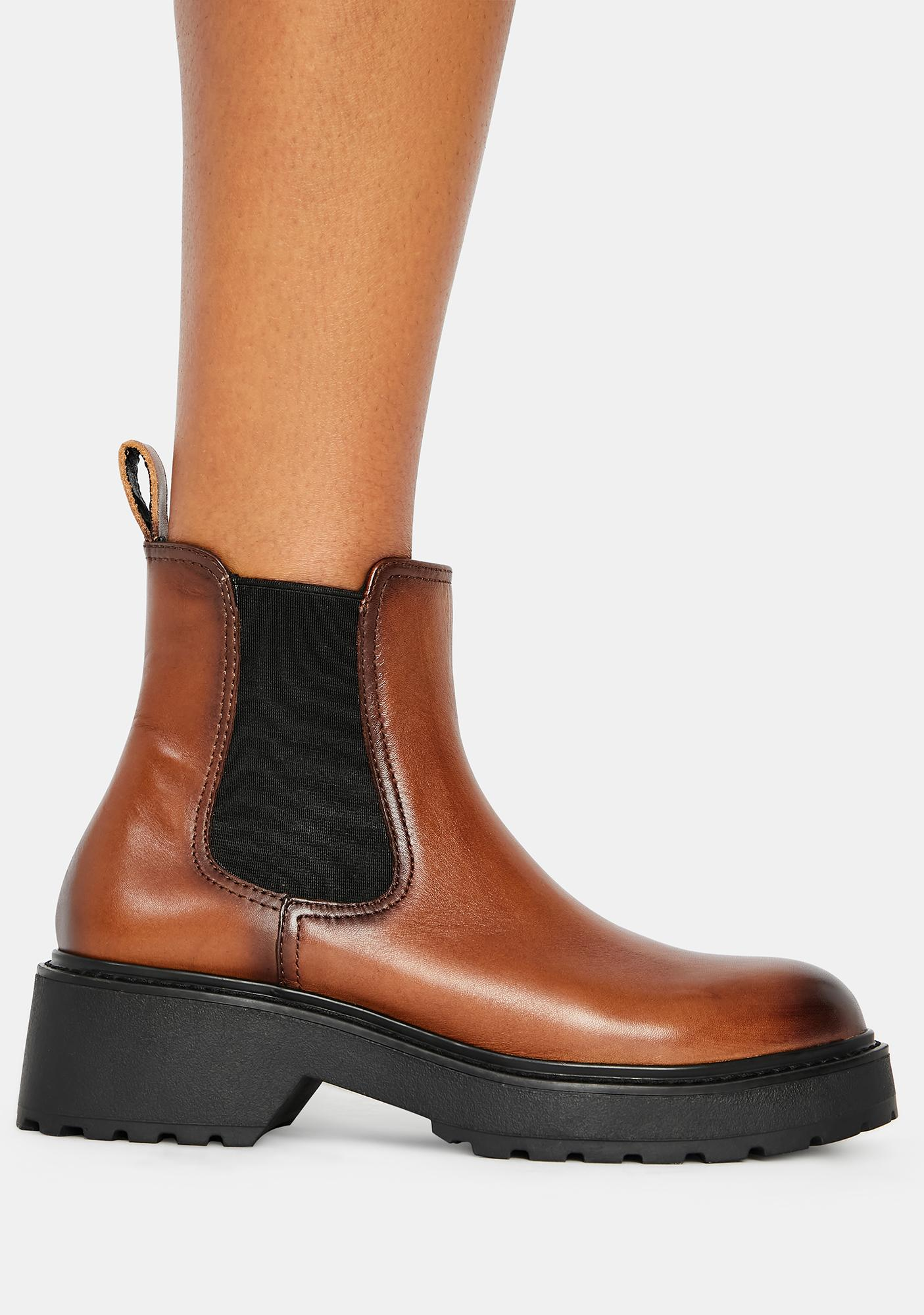 Steve Madden Cognac Trap Leather Chelsea Boots