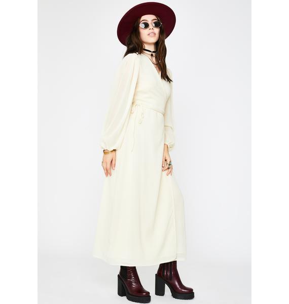 Glamorous Pale Yellow Maxi Wrap Dress