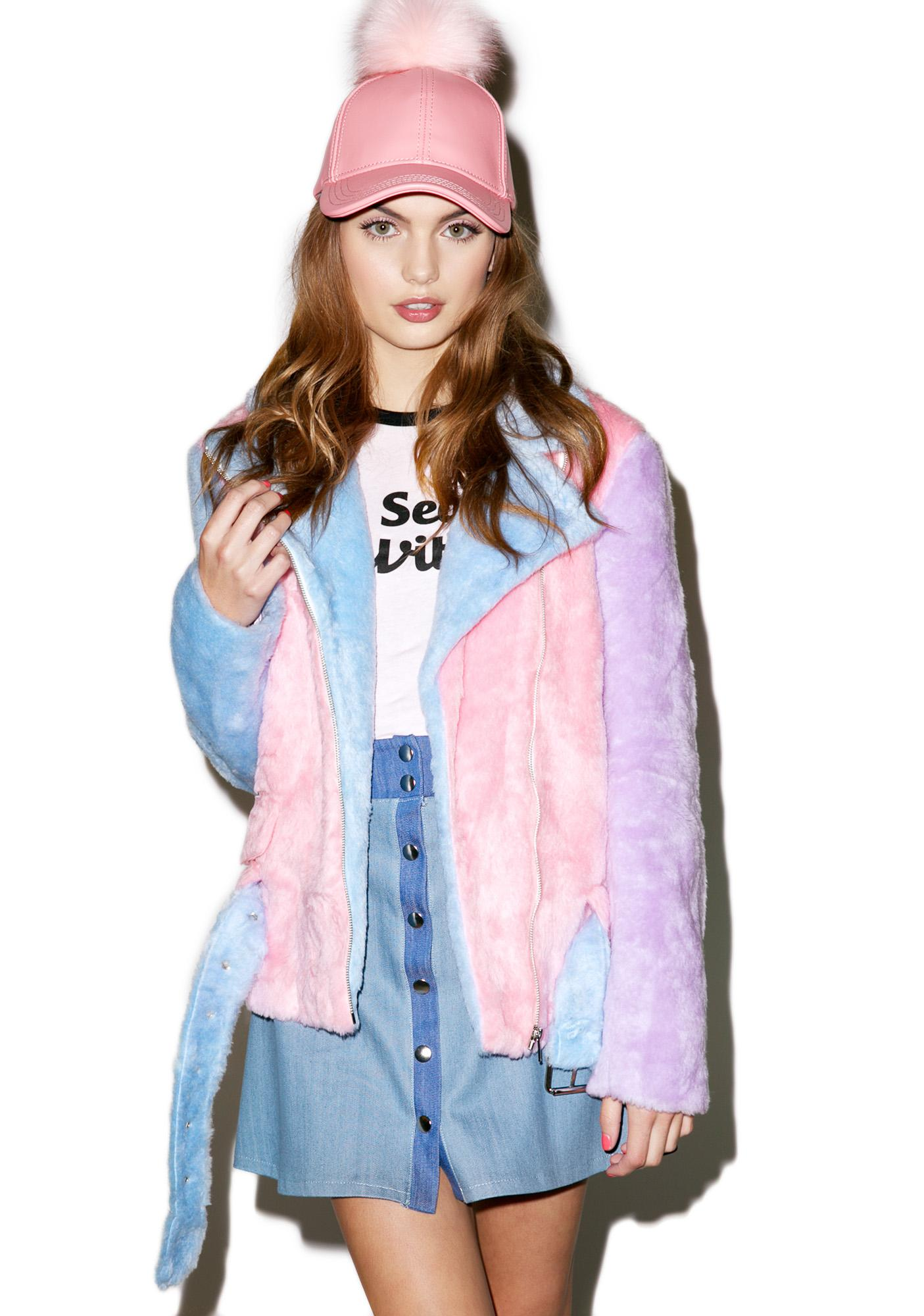 Sugarpills Pastel Faux Fur Moto Jacket