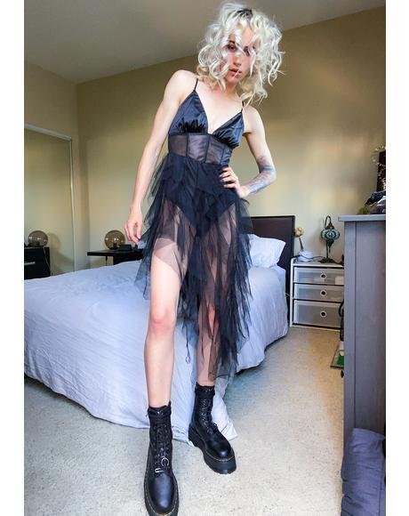 Poison Asymmetrical Midi Dress