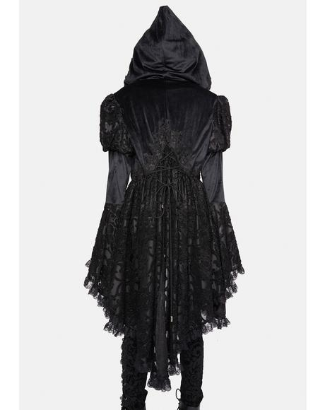 Hooded Lace Ruffle Coat