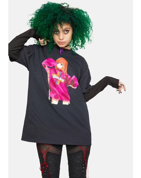 Oversized Anime Graphic Tee