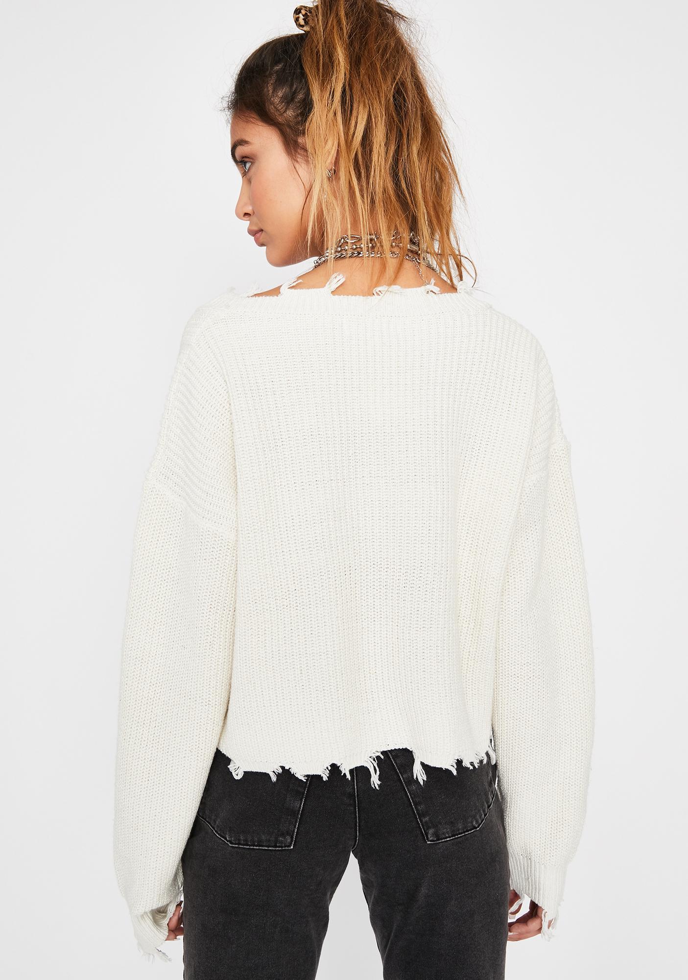 Cream Missed Class Distressed Sweater