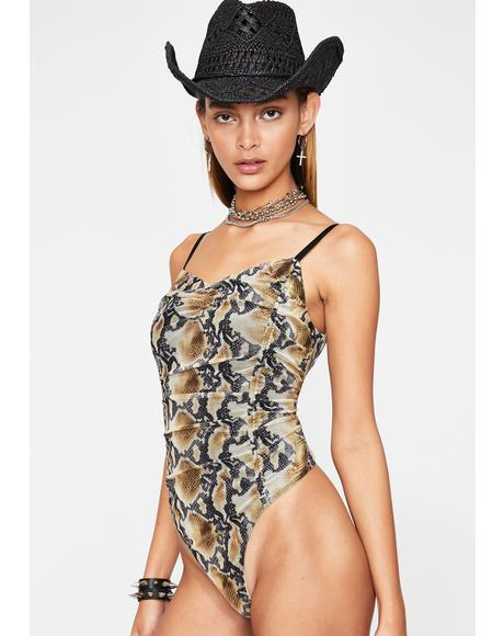 I Bite Back Snakeskin Bodysuit