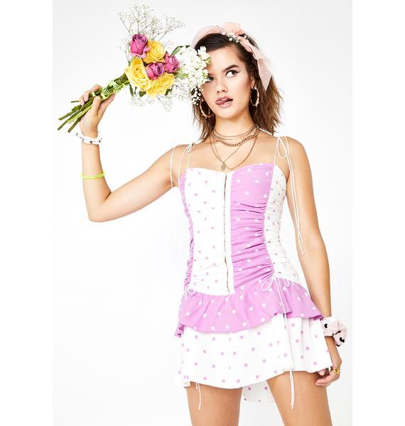 For Love & Lemons Praline Polka Dot Dress