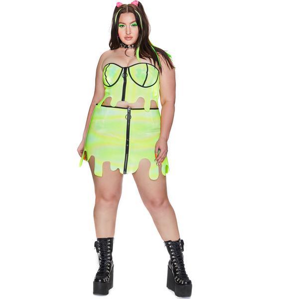 Club Exx Toxic Slime Zone Reflective Bustier