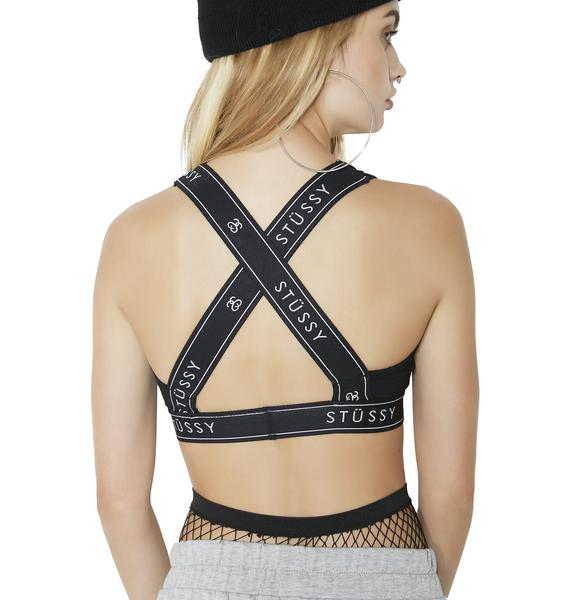 Stussy Nite Logo Cross-Back Sports Bra