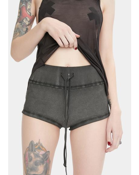 Snare Washed Black Ribbed Shorts