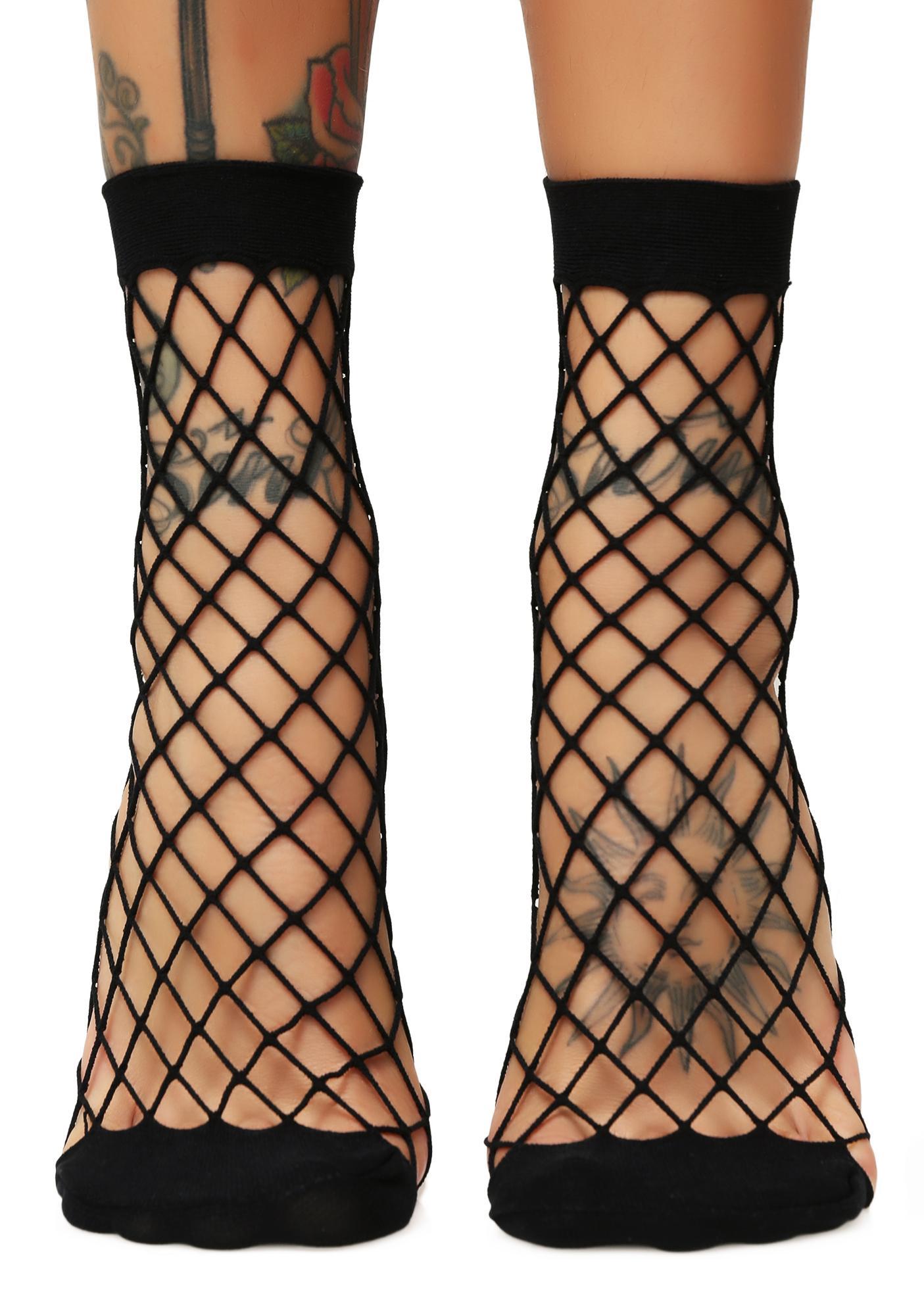 Evil Troublemaker Fishnet Socks