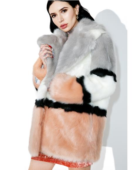 Brooke Patterned Faux Fur Coat