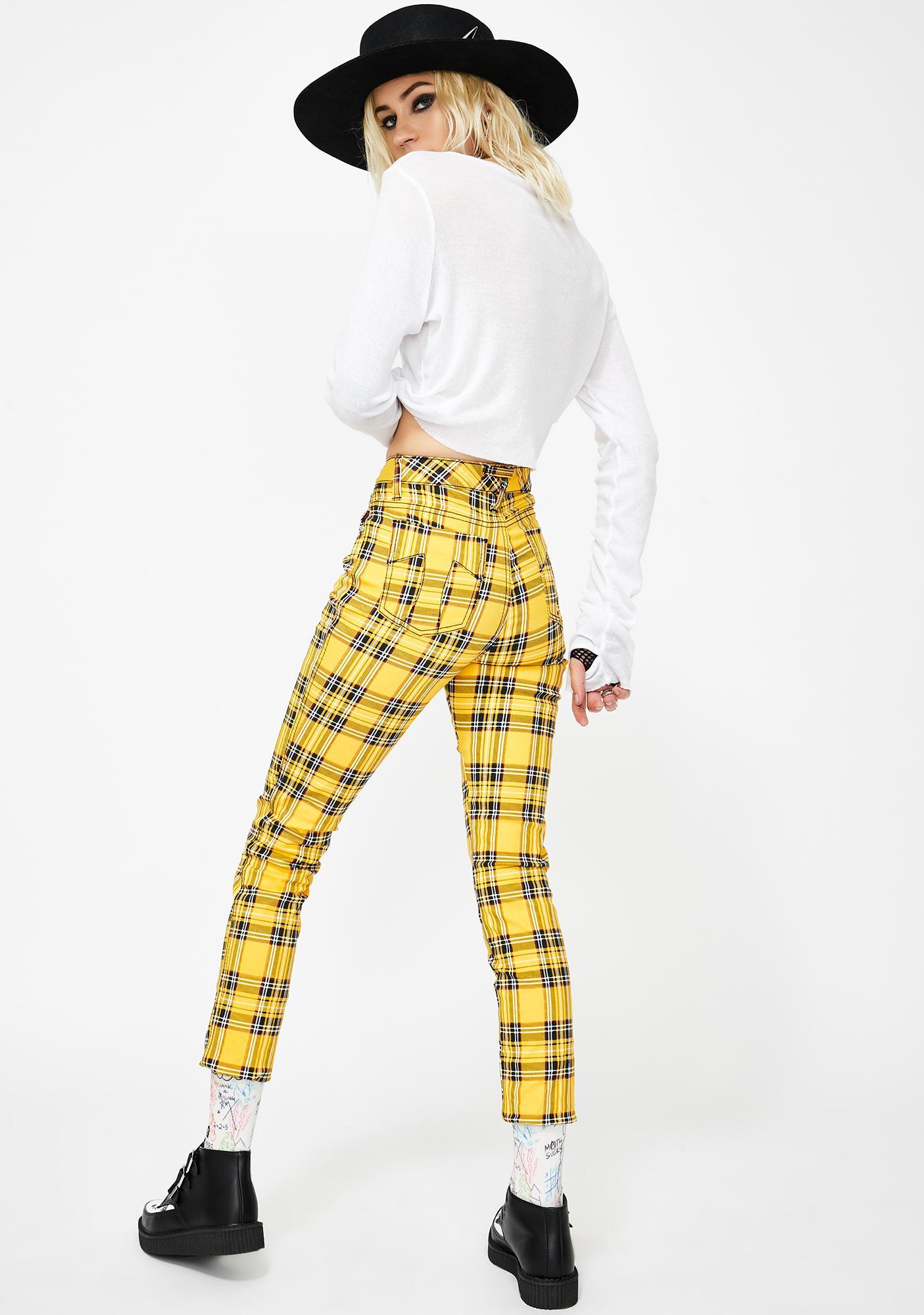 Tripp NYC Yellow Plaid T-Back Skinny Jeans