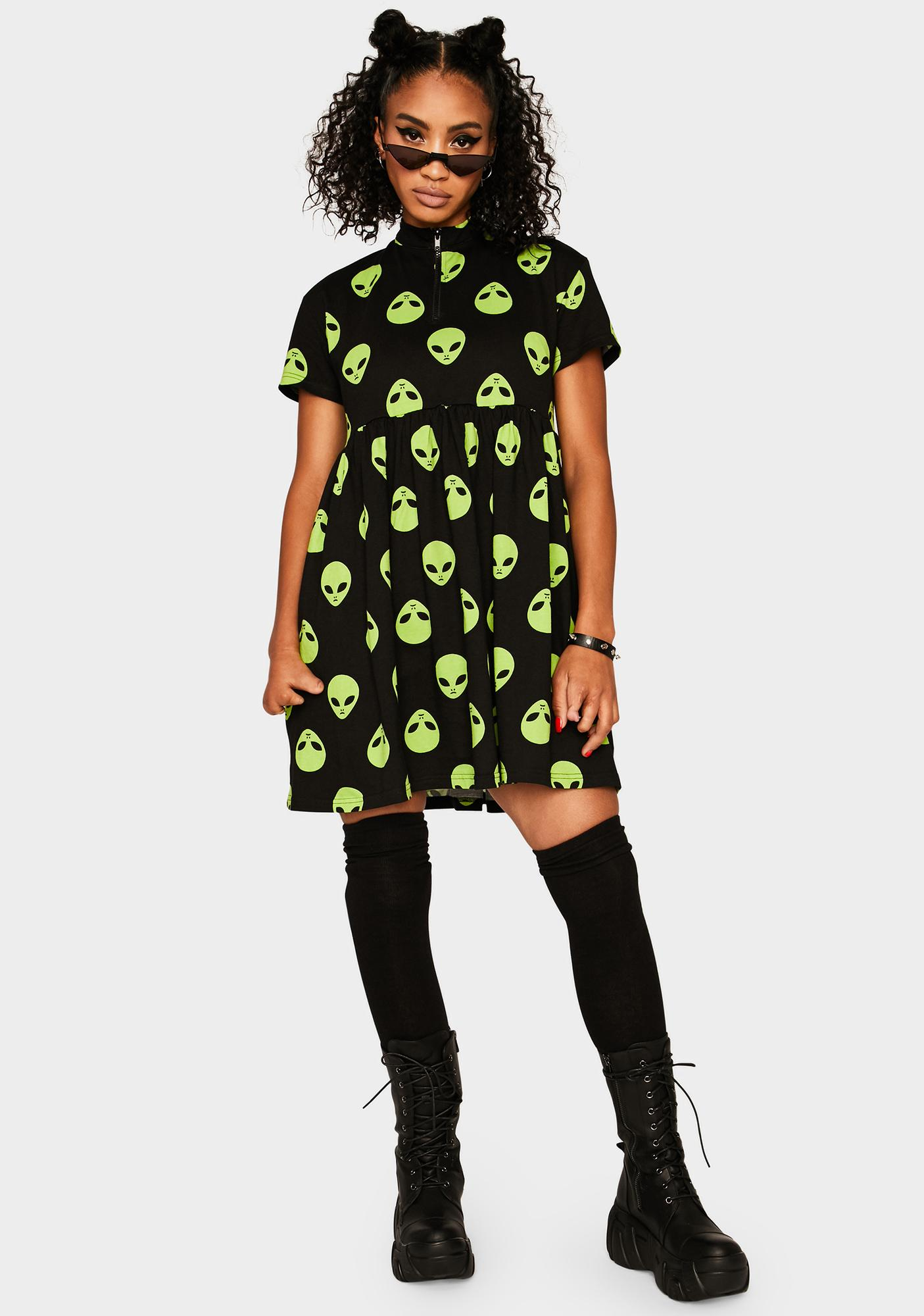 Black Friday Spaced Out Babydoll Dress