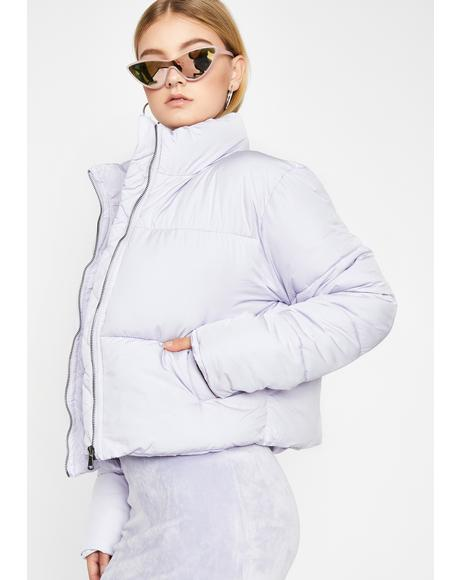 Lavender Points Were Made Puffer Jacket