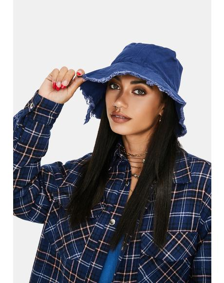 Navy Totally Dude Frayed Bucket Hat
