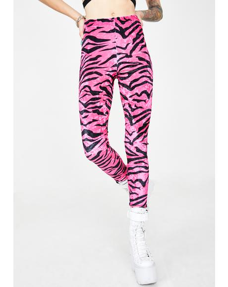 Neon Zebra Velvet Leggings