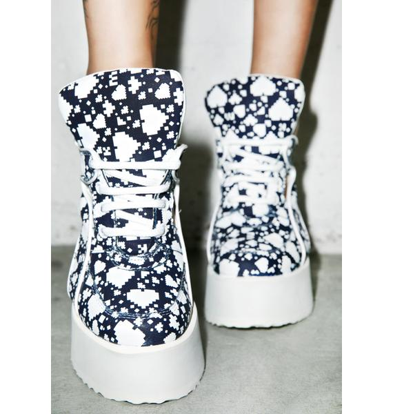 Maria ke Fisherman X Buffalo Dark Digital Love Cut-Out Boots