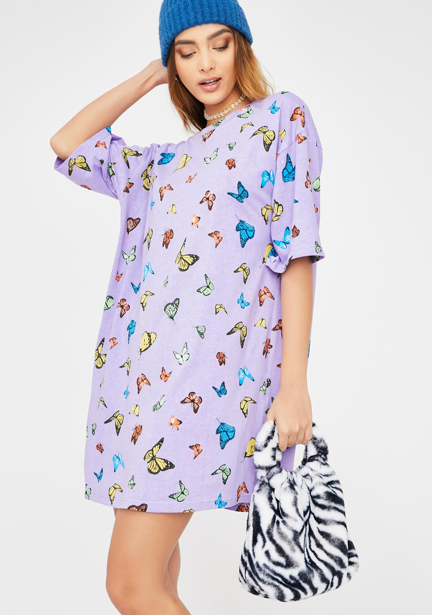 Motel Lilac Butterfly Sunny Kiss Tee Dress