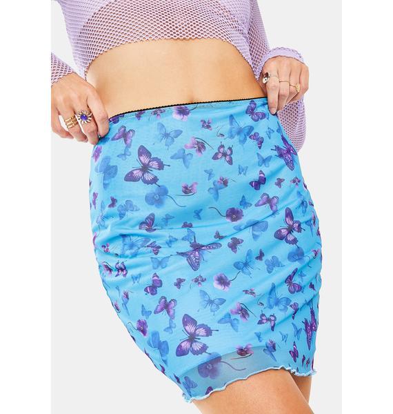 Motel Butterfly Azure Kinnie Mini Skirt