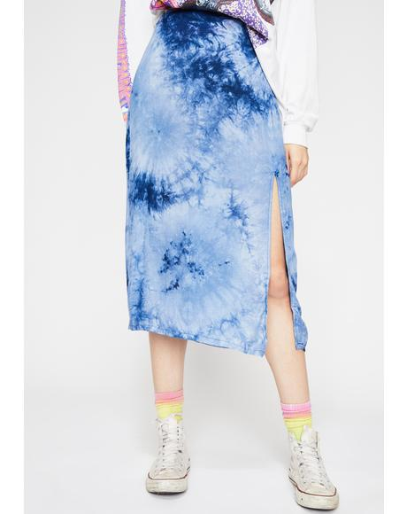 Indigo Catch My Vibe Tie Dye Skirt