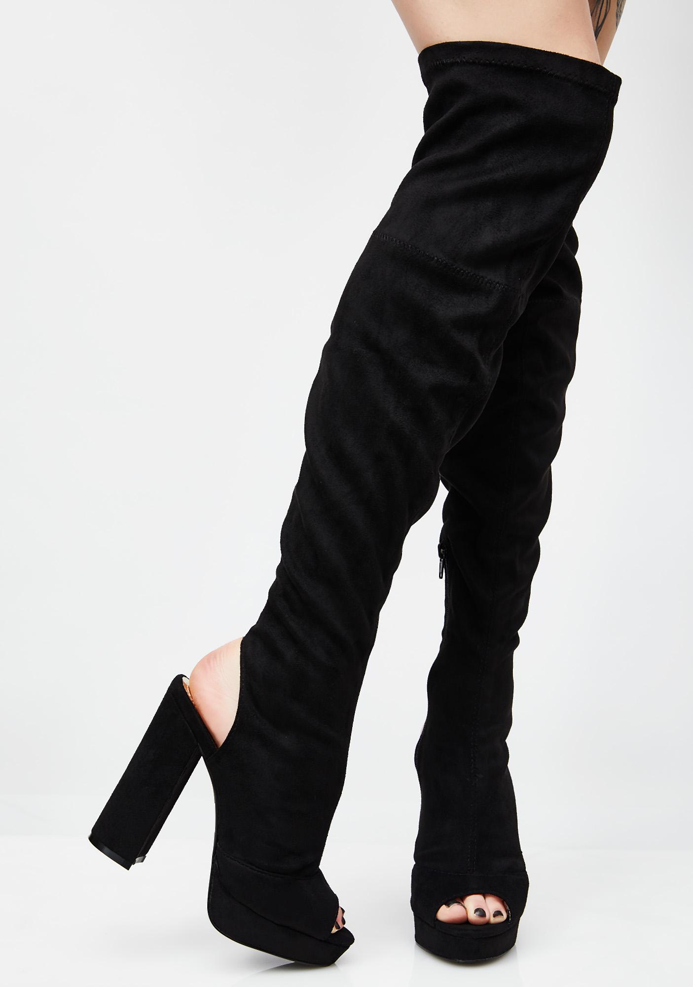 ce71ba46902e Peep Toe Over The Knee Boots | Dolls Kill