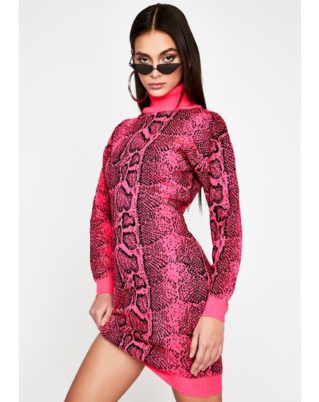 Fuchsia Intoxicated Twist Sweater Dress