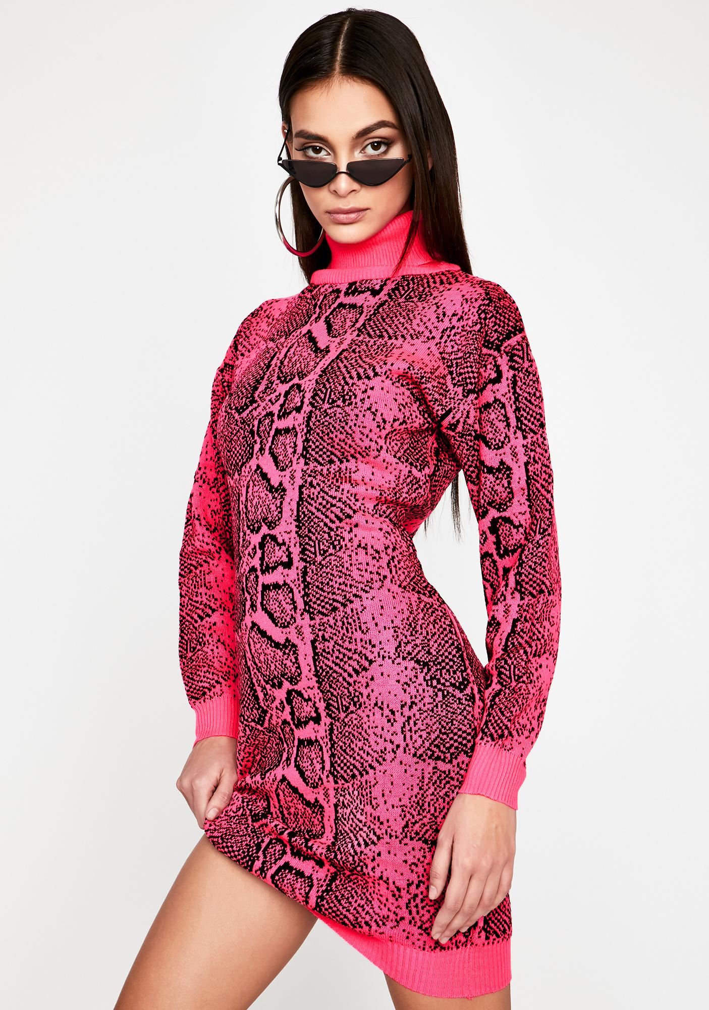 Fuchsia Intoxicated Twist Sweater Dress